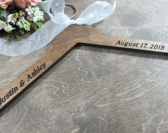 Engraved Bride Hangers - No Wire - Personalized Wedding Photo Props - Engraved Hanger - Engraved Wood Hanger - Gift - Custom Engraved Hanger