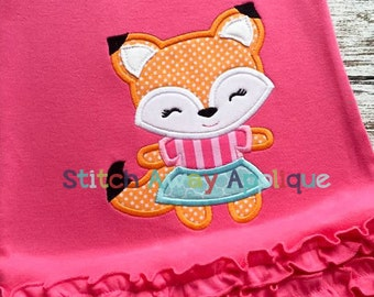 Girly Fox Fall Machine Applique Design