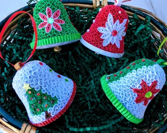 Paper Quilling Bells Christmas Ornaments