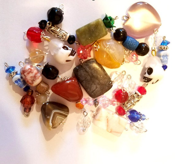 mixed lot 59 bead drops clay stone pendants charms glass plastic beads jewelry findings supplies