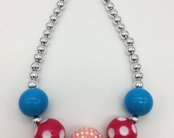 Toddler or Girls Pink Polka Dot Birthday Necklace, Fun Polka Dottie Chunky Necklace, Girls Polka Dot Party,Party Favors, Smash Cake Jewelry