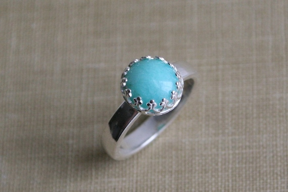 Aqua Blue Amazonite & Sterling Silver Crown Ring