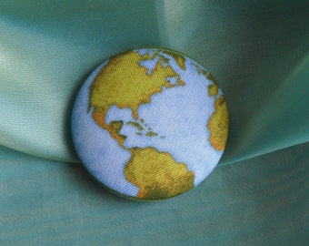 it a wonderful world- extra large fabric covered button-size 75