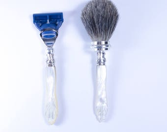 Mother of Pearl Shaving Kit -Fusion Blade & Badger shaving brush