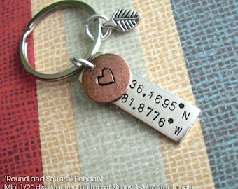 Latitude Longitude GPS Keychain. Double Stacked Charms w/Silver Leaf Bead. Mini disc & Skinny Rectangle. Antiqued Copper, Gold, Silver Plate