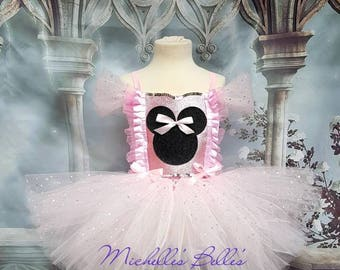 Pink sparkly Minnie mouse style tutu dress