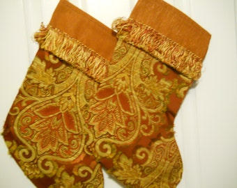 CLEARANCE: Tapestry Christmas Stockings - Red