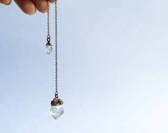 Raw crystal pendulum | Electroformed crystal pendulum | Raw crystal | Rough quartz crystal pendant | Raw gemstone jewelry
