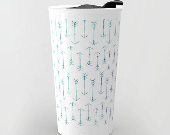 Arrow Travel Mug - Teal Small Hand Drawn Arrow Art - Coffee Travel Mug - Hot or Cold Travel Mug - 12oz Travel Mug -Made to Order