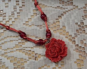 Red Rose necklace red resin rose flower glass beads