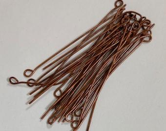 100 pcs of Antiqued copper Eye Pin - 2  inch long - 22 gauge