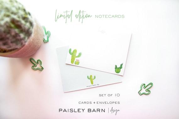 Hello Cactus Watercolor Notecards | original watercolor design, cactus, southwestern, chic, cute, gift, stationery, green, Arizona,