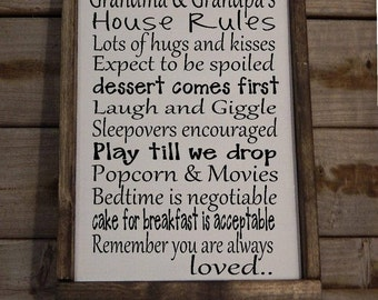 Personalized Grandma and Grandpa's House Rules.. Wood Sign.. Mothers Day.. Fathers Day.. Christmas Gift. Rustic sign