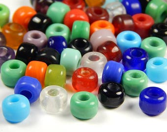50 Pcs - 9x8mm Multicolor India Transparent Opaque Glass Mix Crow Beads - Crow Rollers - Glass Pony Beads - Jewelry Supplies