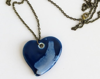 Heart Pendant Necklace Long Pendant Necklace Vintage Jewelry Necklace Blue Pendant Necklace Simple Long Bronze Necklace Pendants Brass Chain