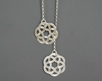 Sterling Silver Celtic Knots Necklace, Lariat Necklace, Dainty Necklace, Mother's Gift, Birthday Gift