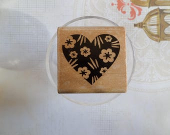 Stamp wood heart shape and flowers