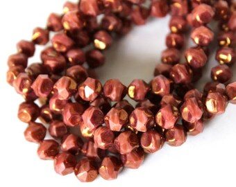 10 Striped Pink and Bronze Authentic Czech Central Cut Faceted Beads