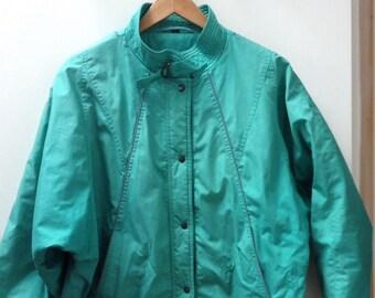Womens Vintage 80s Jacket Batwing Oversized UK 14 Turquoise