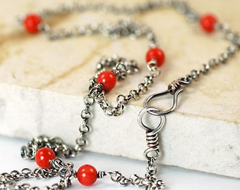 Red Coral Necklace, Sterling Silver, Layered Necklace, Wire Wrapped, Oxidized Necklace, Layering Necklace, Ready to Ship