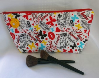 Large Flat Bottom Cosmetic Bag Bright Paris Print....The Adelaide Collection