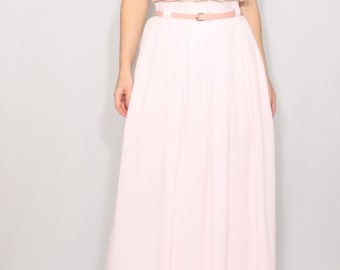 Pale pink chiffon maxi skirt with pockets Women skirt Long skirt High waisted skirt