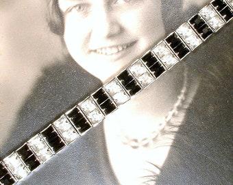 Vintage 1920s Black Art Deco Bracelet, Silver Rhinestone Wide Link Bracelet, Clear Crystal Geometric Great Gatsby Flapper Jewelry Bridal