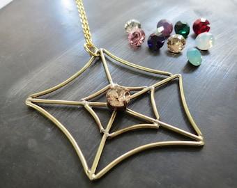 SPIDER WEB NECKLACE - brass cobweb necklace - handmade spider web pendant with swarovski - gothic spider web necklace - steampunk necklace