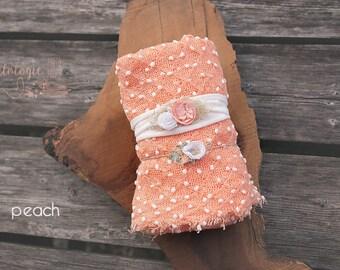 Newborn Wrap Set with 2 Tiebacks * Peach  * White Dot * Jersey Knit Headband *  Newborn Tieback * Photo Prop * Newborn Wrap * Baby Headband