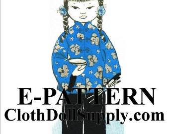 E-Pattern – Miss China Cloth Doll Sewing Pattern #EP 910