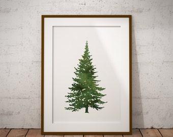 watercolor christmas tree print, holiday decor, home decor, christmas decor, christmas print, holiday print lds christmas decor, minimalist