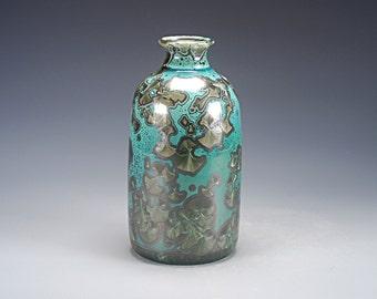 Porcelain Vase - Green, Black, Malachite - Crystalline Glaze - Hand Made Ceramics - FREE SHIPPING - #J-226