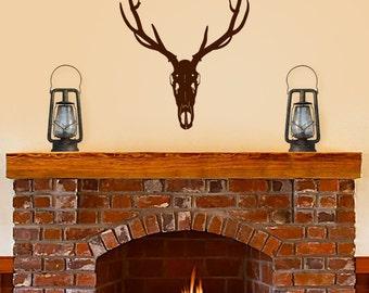 Elk Skull vinyl decal, Deer Head wall decal. Hunting decor, Buck Skull horns. Man Cave, nursery, family room bedroom decor.