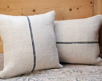Authentic Grain Sack Pillow Cover / Antique linen / Handwoven hemp fabric / Black Stripe /Handmade Pillow Sham / Square pillow