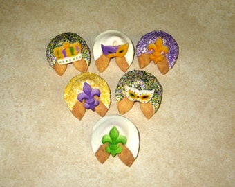 12 MARDI GRAS Fortune Cookies, Fat Tuesday, New Orleans, King Cake, Bouef Gras, Carnival