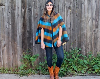 Vintage 60s PLAID CAPE OS
