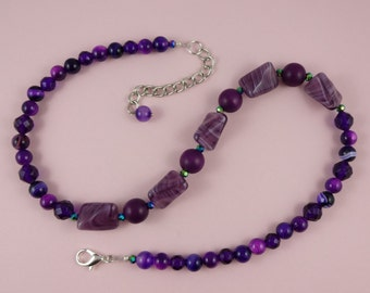 Deep Purple Bead Necklace - vintage beads, faux amethyst beads, dark purple, funky unusual unique, rich regal royal, bold statement, OOAK!