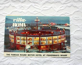 Villa Roma Fisherman's Wharf Postcard, Vintage San Francisco Postcard, California Postcard, Architecture postcard