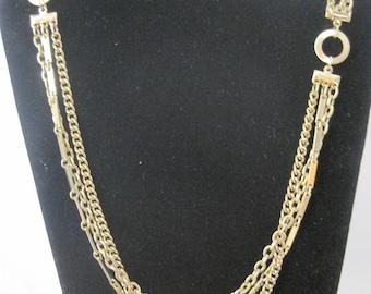 Vintage Gold Tone Triple Chain Necklace