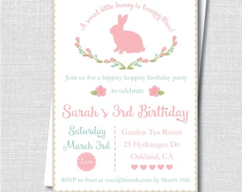 Rustic Bunny Birthday Party Invitation - Spring Bunny Party - Digital Design or Printed Invitations - FREE SHIPPING