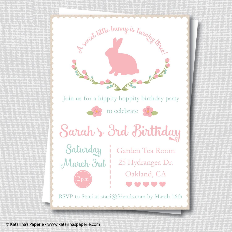 Rustic bunny birthday party invitation spring bunny party zoom monicamarmolfo Images