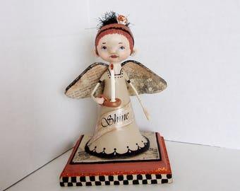 """Angel Folk Art Doll """"Shine"""""""