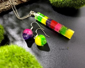 Resin Necklace, Rainbow Jewelry, Resin Epoxy Jewelry set, Resin Jewellery, Colorful necklace, Rainbow Earrings, Colorful Earrings,