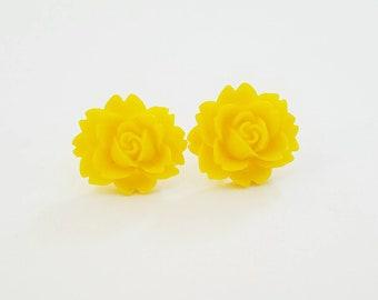 Cabbage Rose Beautiful Bloom Flower Earrings Yellow