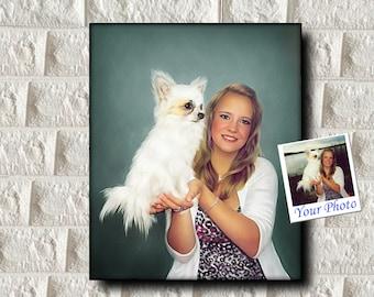 Custom Pet Portrait, Custom Dog Portrait, Custom Portrait Custom Cat Portrait, Personalized People Portrait with Pet, Female Portrait