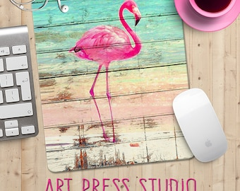 Pink Flamingo on Distressed  Wood Mouse Pad, Beachy Mouse Pad, Topical Mouse Pad, Neon Pink, Flamingo
