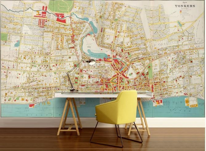 City map wallpaper street wall mural yonkers city map request a custom order and have something made just for you gumiabroncs Choice Image