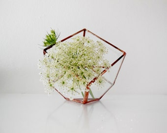 Terrarium, stained glass planter geometric 3D shape, cube shape plant holder