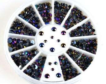 DIY Nails Decoration 300pcs 3D Nail Art Tips Gems Crystal Rhinestone