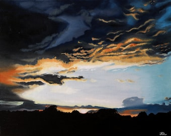 Original Painting, Landscape Painting, Oil on Canvas, Oil Painting, Sunset Painting, Realistic Artwork, Clouds Painting, Hand Painted, Art